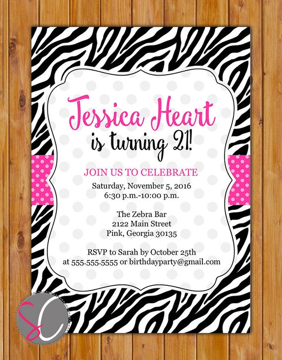 Pink Black Zebra Print Birthday Party Invitation Polka Dots