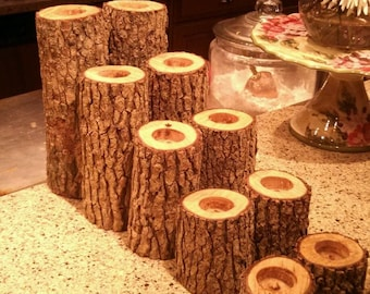 10 NATURAL Log Tea CANDLE HOLDERS/ with free candles