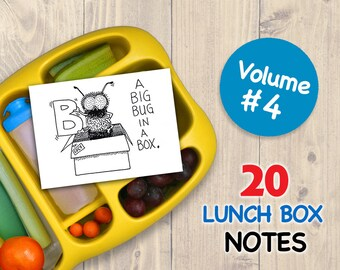 Vol 4 LUNCH BOX NOTES for Kids 20 Assorted Printable Cards Drawings Inspirational School Printables Art for Boys and Girls Lunchbox Letters