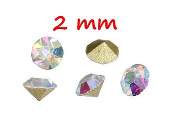 250 conical SS8 - 2 mm clear AB glass rhinestones