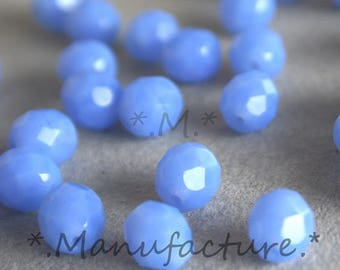 8mm (20pc) blue sky milky beads, czech glass beads, faceted beads 8mm