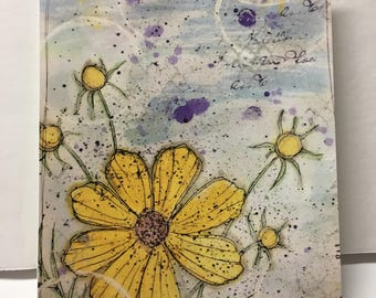 Mixed Media Floral Note Card