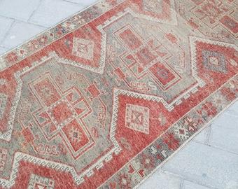 Vintage Oushak Runner Rug,5x11,Hallway Rug,Turkish Rug,Faded Colors,Turkish Low Pile Carpet,Anatolian Rug,153x343 cm