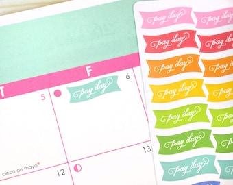 Pay Day Mini Banner Stickers, 36 rainbow reminder planner stickers, payday flag decals, 2018 Erin Condren Plum Paper, eclp stickers