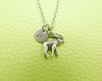 Elk Deer Initial Monogram Necklace Stainless steel chain