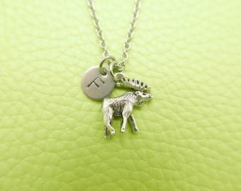 Elk Deer Initial Monogram Necklace Stainless steel chain