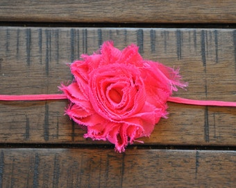 Hot Pink Headband with Pink Flower, Pink Polka Dot Flower, Petite Pink Flower, Skinny Pink Little Girl Headband, Choice of Flower