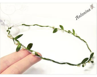Crown Green vine with pearls diadem wedding with Pearls wedding Bride