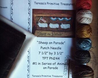 Punch Needle Kit Sheep on Parade Valdani Theads Weavers Cloth Wool