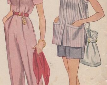 Bust 32-1940's Misses' Slacks, Shorts and Shirt Simplicity 3233 Sz 14