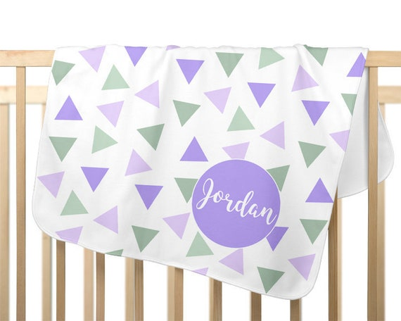 Purple and Mint Baby Receiving Blanket, Personalized Gift