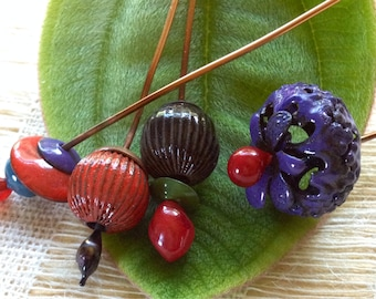 Enameled Beads and Headpins by Catalina Glass SRA