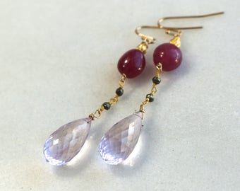Pink Amethyst, Pink Sapphire, Pyrite XLong Focal Earrings in 22kg Vermeil...