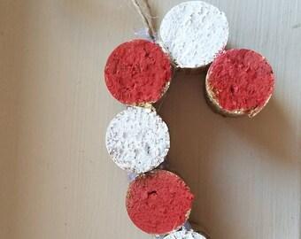 Wine Cork Candy Cane Ornament
