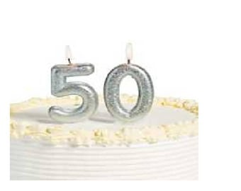 50th Milestone Candles Birthday Silver Glitter Candles Sparkling Party Decorations Supplies
