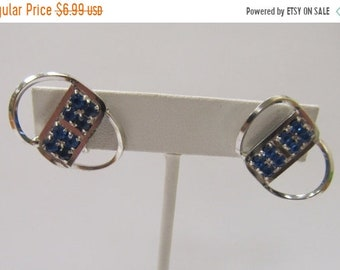 On Sale Vintage Blue Rhinestone Earrings Item K # 2074