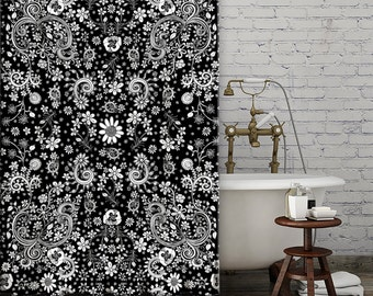 Shower Curtain Black White Floral bohemian shower curtain shabby chic bathroom accessories floral hippy shower curtain boho shower curtains