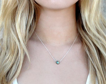 Dainty Abalone Shell Circle Necklace / 14k Gold Sterling Silver Delicate Chain /Minimal Short Layering Necklace /Bridesmaid Gift