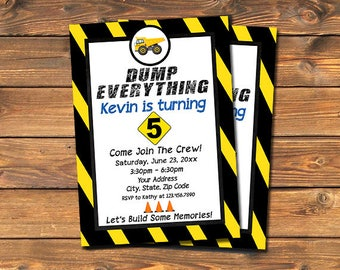 Construction Birthday Invitation, Dump Everything Under Construction Party, Printable Custom Little Worker Invites, Boy's Dump Truck,Digital
