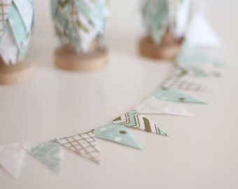 Fabirc mini bunting / Metallic Gold Cake Bunting Teal Blue / #spoolbunting / Wedding invites DIY cards, save the date. Mint photo prop