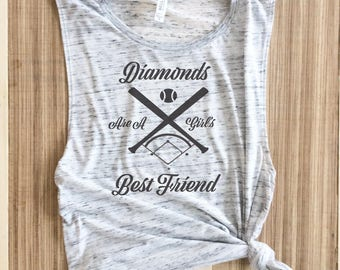Diamonds Are A Girl's Best Friend, Diamonds are a girls best friend Muscle tank, Muscle Tank, Baseball Mom,Hit and Steal,Baseball Shirt