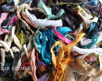 Doll Cud, Sari Silk Remnants, Jewelry Ribbon, Craft Ribbon, Fair Trade Sari Silk, Textile, Art Yarn, Ribbon,  Scrap Silk, ArtWear Elements