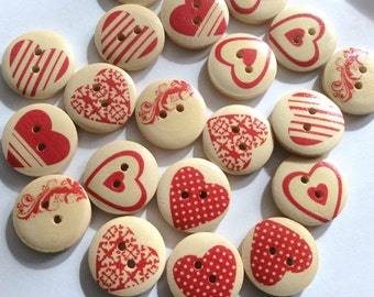 Wholesale, Bulk Buy Painted Heart Wood Buttons 18mm B83614