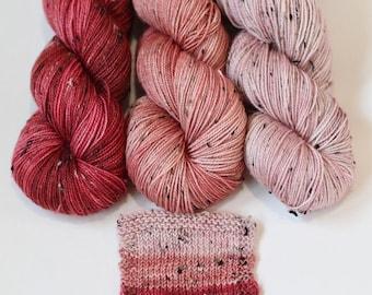 Tweed Gradient set, handdyed yarn, SW merino, Barnsides Trio, 'Tweedy Sock' yarn
