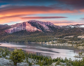 The Dragon - sierra nevada ,panorama,sliver lake,carson pass,lenticular clouds,sunset,office decor,home decor,earth tones,wise format,warm