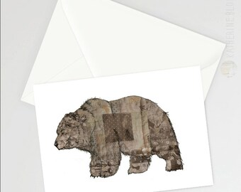 Patchwork Bear greetings card