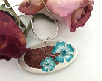 Silver Enamel Flowers Pendant