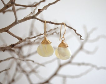 White Mother of Pearl Drop Earrings, Gold Filled