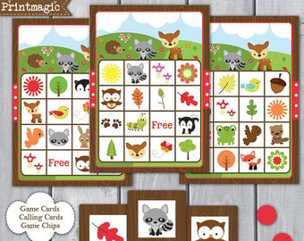 Woodland Forest Animal Bingo Printable Party Game - Printable PDF - Instant Download