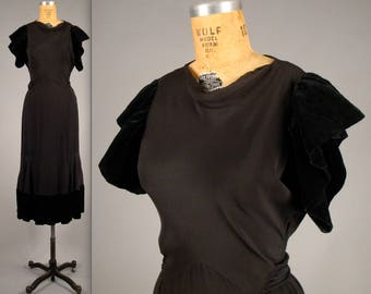 1930s sultry black cocktail dress • vintage 30s Art Deco dress • crepe and velvet evening gown