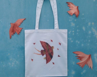 Practical and Lovely Tote Bag, Hand Drawn Illustration Cotton Canvas Shopper Bag, Market Bag, Beach Bag