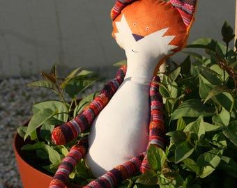 Decorative blanket - RouxDoudou medium Orange ethnic - OOAK doll