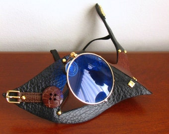 Steampunk Mask. Black and Brown Leather, Blue Glass Monocle -Natural Born Killer