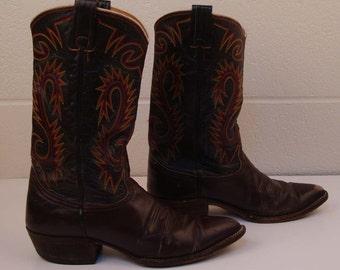 Cowboy Boots Nocona Boots Brown Cowboy Boots Vintage 1980s Men's Cowboy Boots size 10 1/2