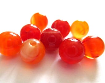 striped agate beads 10 shades of orange 6mm