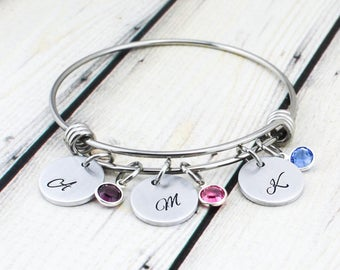 Initial Bracelet for Women - Personalized Birthstone Bracelet for Mom - Mom Gift - Mom Bracelet - Grandma Bracelet - Grandma Gift for Women