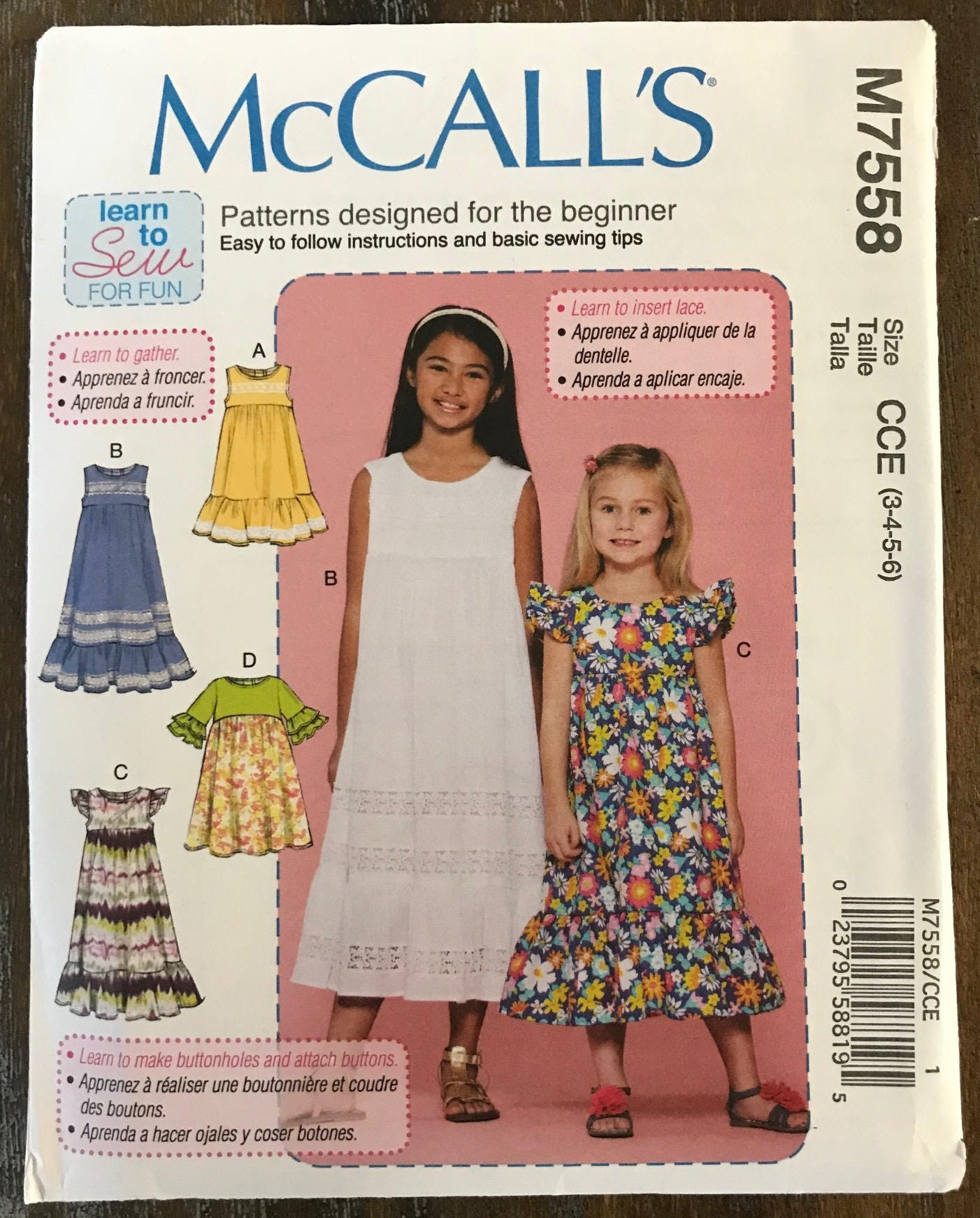 Uncut childs dress sewing pattern mccalls 7558 sundress school sold by sewpatterns jeuxipadfo Images