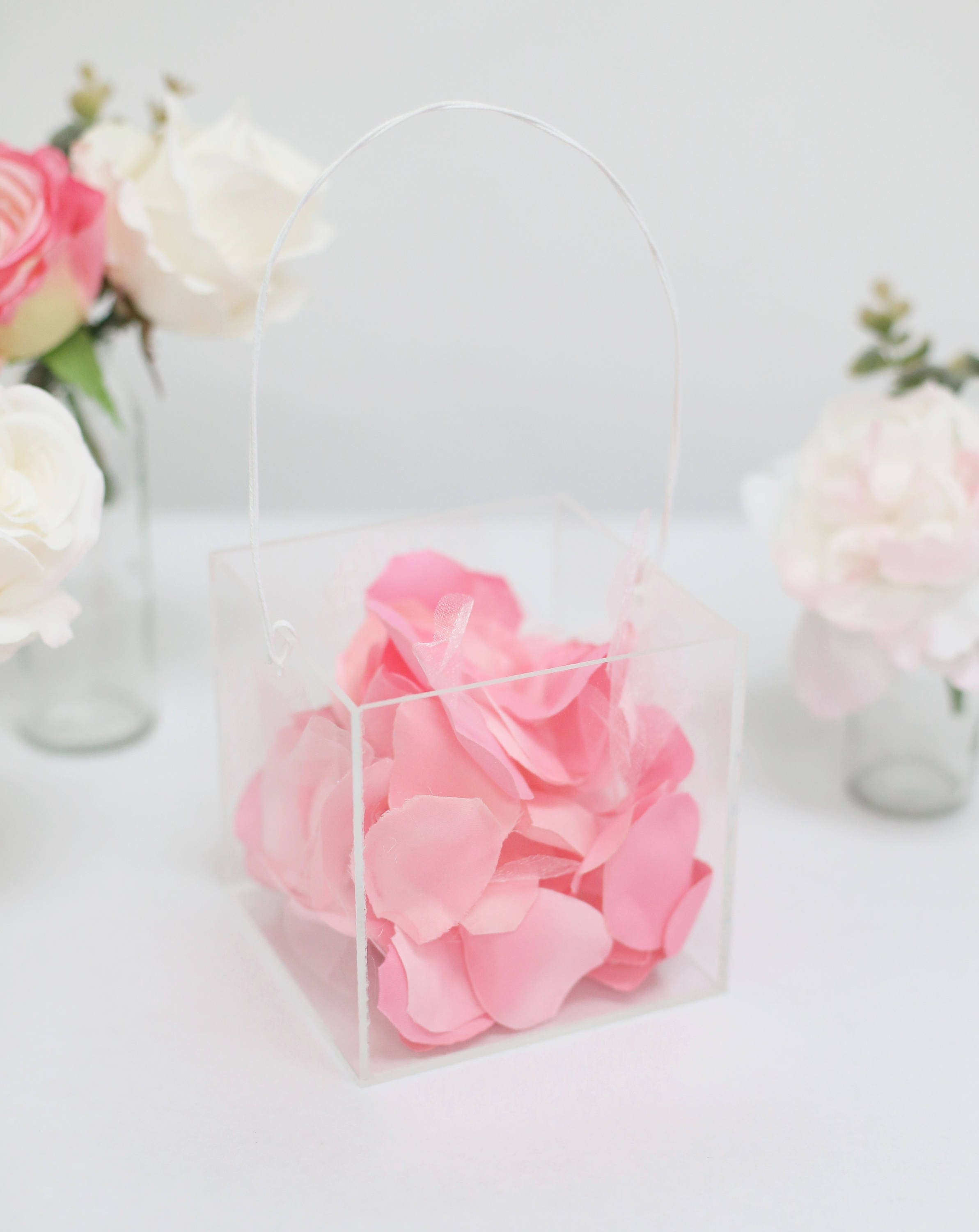 Clear Flower Girl Basket Acrylic Wedding Modern Simplistic