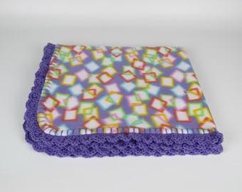 81 - Colorful Crazy Squares Fleece Baby Blanket