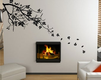 Tree Branch With Falling Leaves Vinyl Wall Art Decal - Wall Sticker