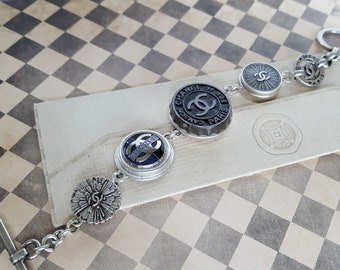 Authentic Designer Button Charm Bracelet Silver Black and Grey, Beautiful gifts Birthday, upcycled Designer Button Jewelry veryDonna