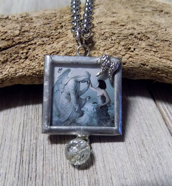fantasy Angel art handmade glass necklace