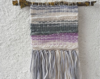 wallhanger, Tapestry, woven, lilac, blue, gray, white, gift, dwelling