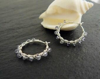 Iolite silver wire wrapped hoop earrings, sterling silver hoop earrings, gemstone hoops, iolite earrings, gemstone earrings, gift for her