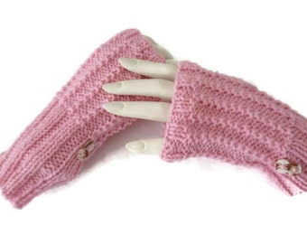 Knit Wrist Warmers, Knit fingerless Mittens, Pink Gloves, Texting Gloves, Blue Gloves