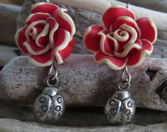 Earrings red flower and Ladybug
